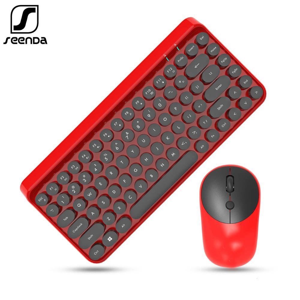 SeenDa 2.4g Wireless Keyboard And Mouse Comb For Laptop Computer Desktop  Multimedia Function Keyboard Mouse Set Dot Keycap