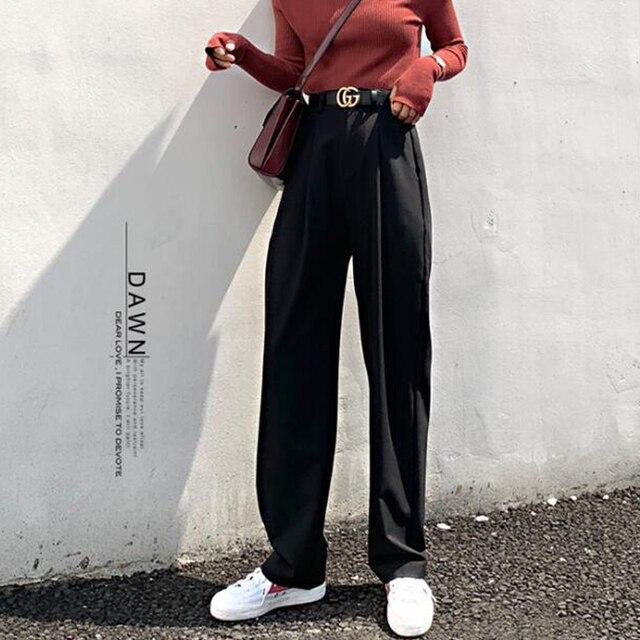 Chic High Waist Loose Straight Pants  4