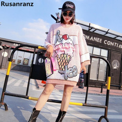2019 Long Knitted Sweater Dresses Pearl Sequins Ice Cream Hip Hop Brand Pullovers
