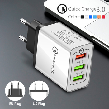 EU/US Plug Quick Charge 3.0 USB Fast Wall Charger Adapte 1/3 Ports Power Adapter For Huawei Mate 30 iPhone Samsung S9 S8 HTC 1