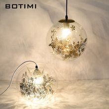 BOTIMI Modern LED Pendant Lights With Glass Lampshade For Dining Room Bar Cord Hanging Light  Flower Decor Restaurant Lighting free shipping ac90 260v avintage cord pendant lights clear glass lampshade edison bulb pendant lamp for dining room ktv bar