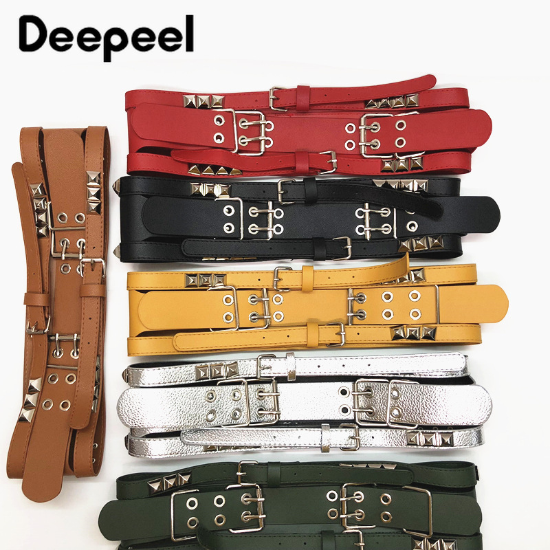 Deepeel 1pc 9cm*100cm  Women's High Waist Cummerbunds Wide Elastic Fashion Corset Rivet Decoration Leather Accessories BeltYK712
