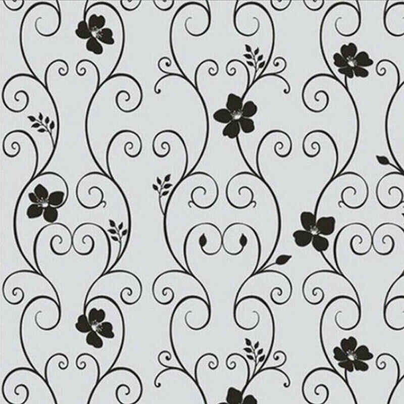 1 rotolo Frosted Privacy Motivo Floreale Pellicola Della Finestra di Camera Da Letto di Casa Bagno Finestra di Vetro Adesivi Pellicola Senza Colla Autoadesivo Adesivo
