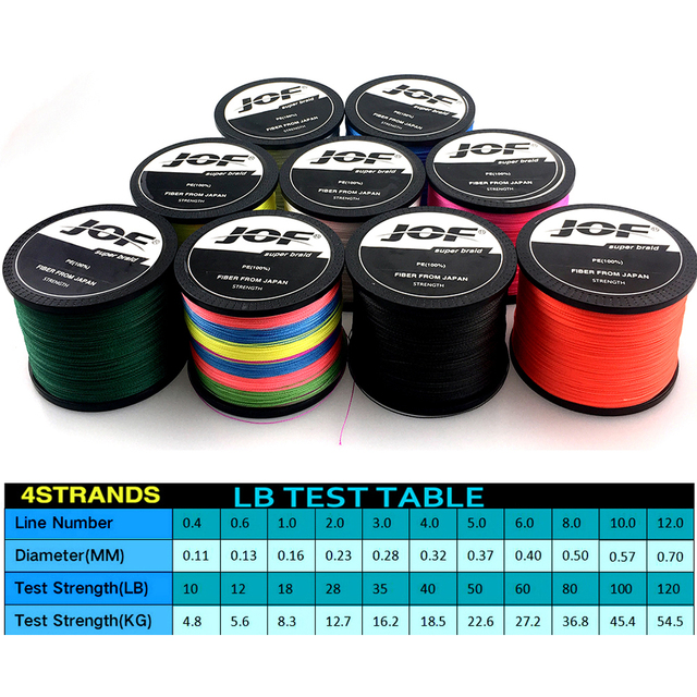 JOF 300M Multicolour PE Braided Wire 4 Strands Multifilament Japanese Fishing Line 1