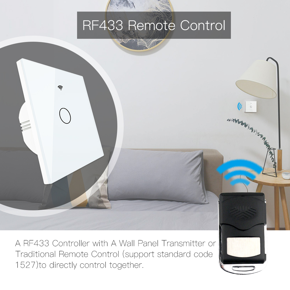 Image 2 - WiFi Smart Switch RF433 Remote Control Glass Panel Light Switch Smart Life Tuya Works With Alexa Echo Google Home 1/2/3 Gang-in Switches from Lights & Lighting