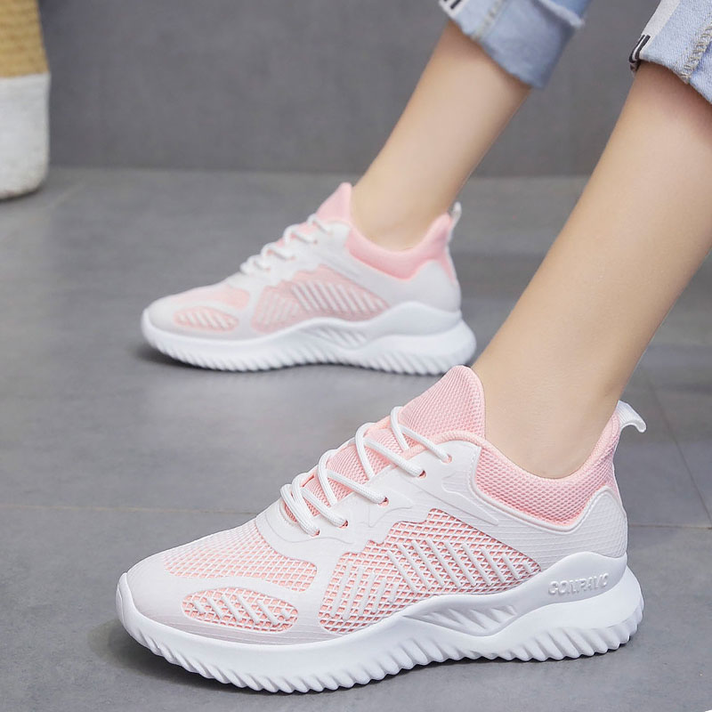 Shoes Women Sneakers Fashion Solid Women Sneakers Lace-up Mesh Breathable Casual Shoes Woman Sneakers Tenis Feminino White Shoes
