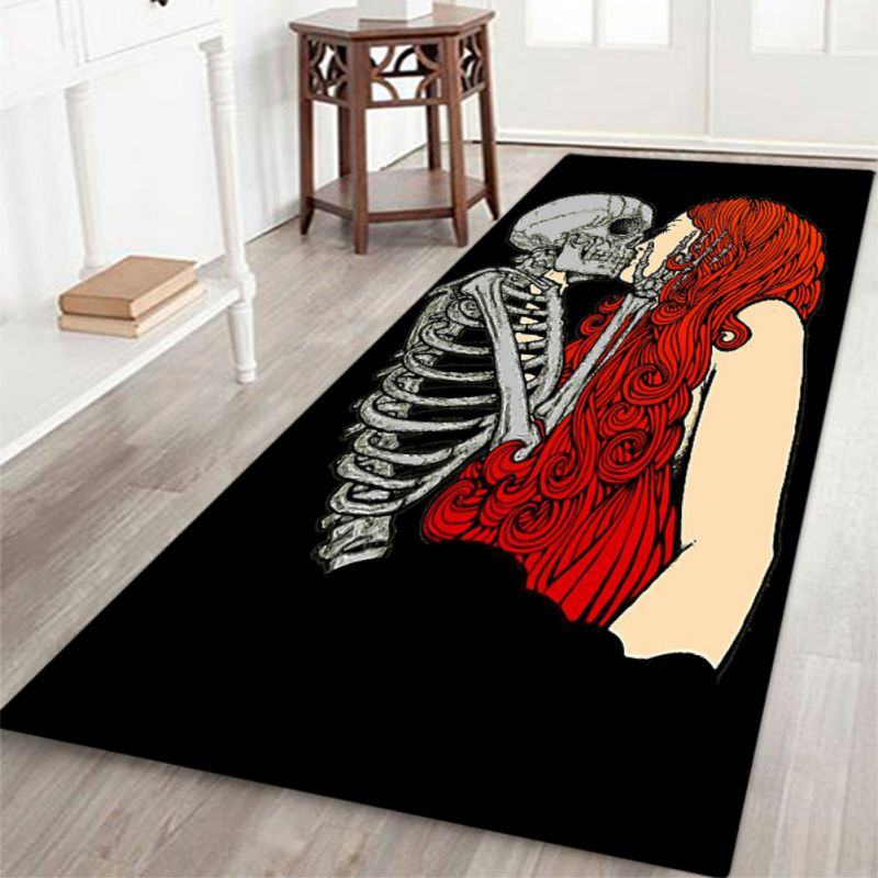 2019 Halloween Theme Skeleton Pattern Rectangle Area Rug Soft Flannel Floor Mat Carpet With Non Slip Back Holiday Home Decor in Carpet from Home Garden