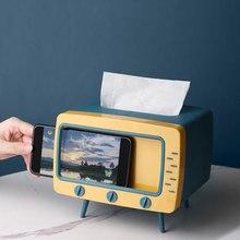 Творческий 2 в 1 ТВ с одноразовыми салфетками для рабочего стола дозатор держателя для бумаги для хранения салфетка Чехол Органайзер с мобил...