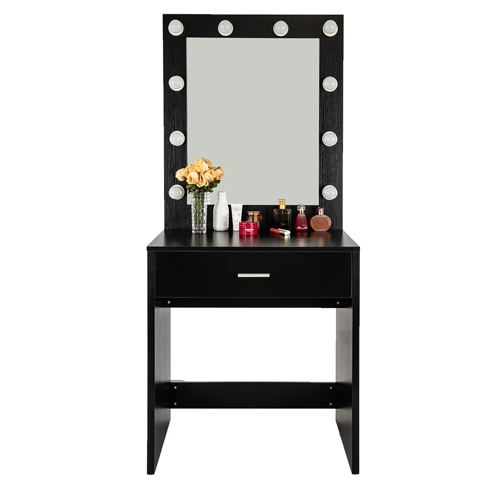 Black Dressing Table FCH With A Light Cannon Large Mirror Single Drawer Dressing Table High Quality P2 MDF Bedroom Table