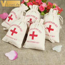 50/15 Hangover Kit bags wedding Wedding Favor Holder Bag Red Cross Cotton Linen Gift Bags Recovery Event Party Supplier