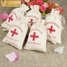 50/15 zestaw kaca torby wedding Wedding Favor Holder Bag czerwony krzyż Cotton Linen torby na prezenty odzyskiwanie Event dodatek na imprezę