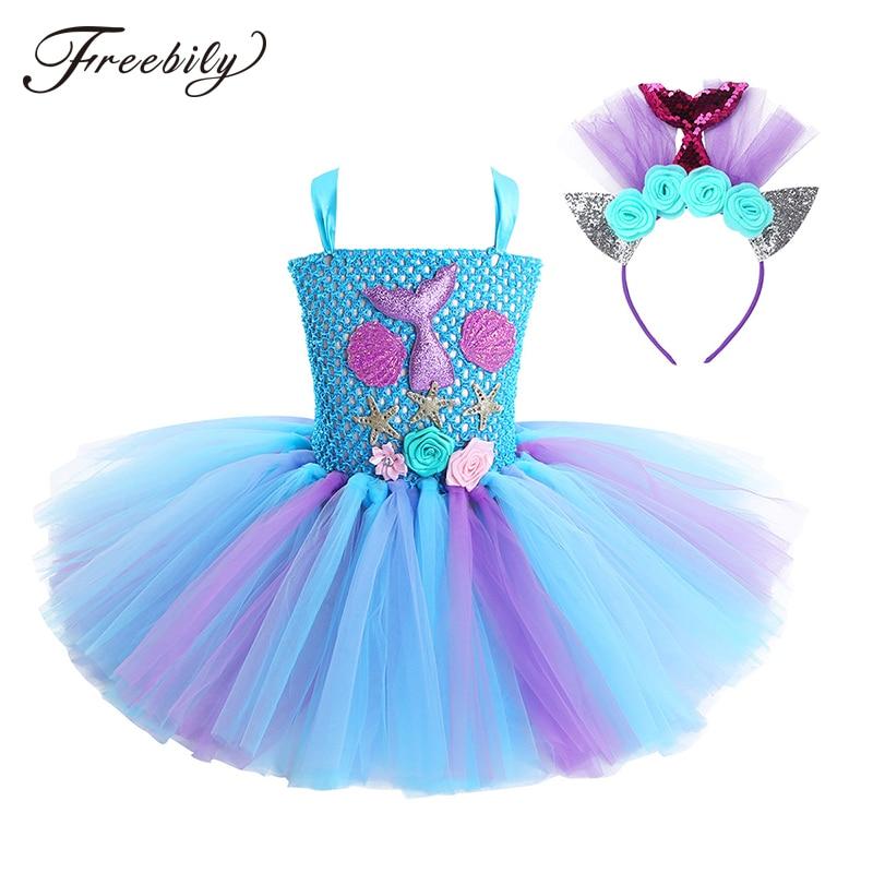 New Kids Girls Princess Mermaid Costume Sleeveless 3D Flower Mesh Dress Hair Hoop Set Children Halloween Cosplay Party Dress Up