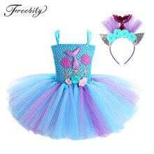 เด็กใหม่เด็กหญิง Princess Mermaid เครื่องแต่งกายแขนกุด 3D ดอกไม้ตาข่าย Dress ผม Hoop ชุดเด็กฮาโลวีน COSPLAY PARTY Dress UP