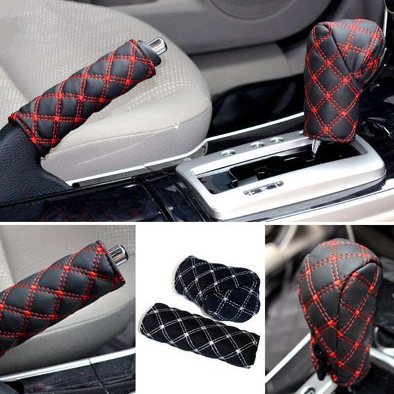 Car Wine Two Piece Stick Shift Dust Cover Car Handbrake Gear Cover 2 Piece Set Manual Grip Cover Car Interior Trim in Handbrake Grips from Automobiles Motorcycles