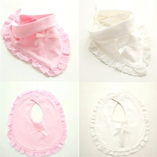 Baby Bib Towel Lace Newborn Triangle Waterproof Cotton with Cartoon Soft Bowknot Double-Snap