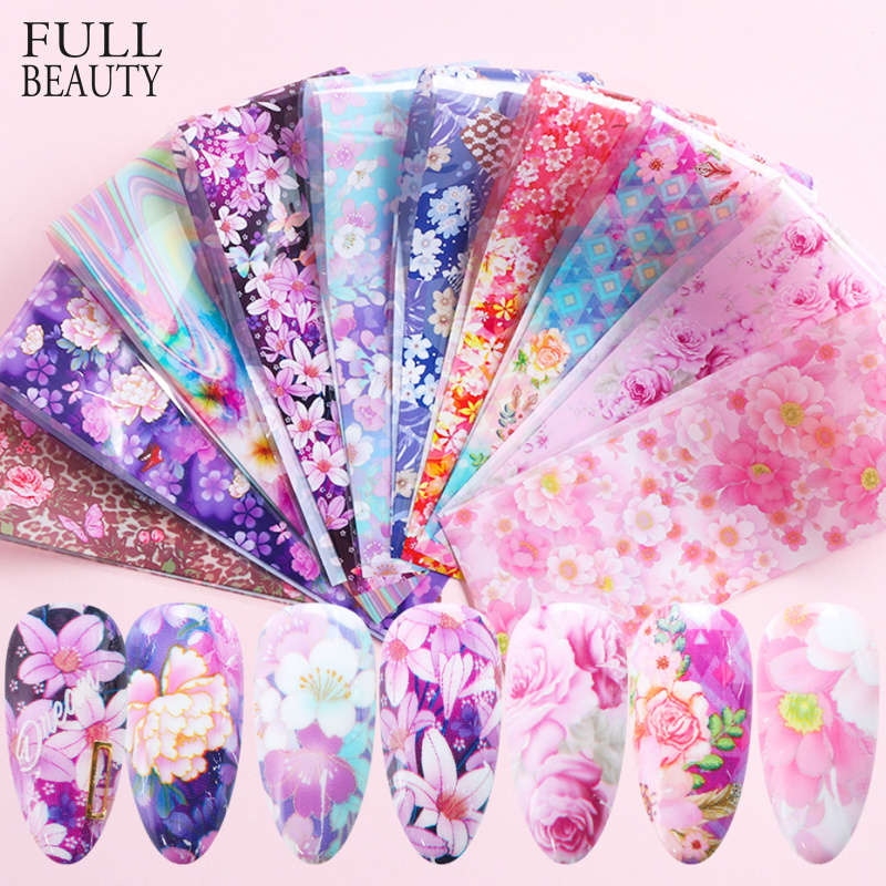 Holographic Floral Stickers Nail Art Butterfly Nail Foil Transfer Starry Sky Decal Paper Adhesive Slider Decor Sets CHXK139-1