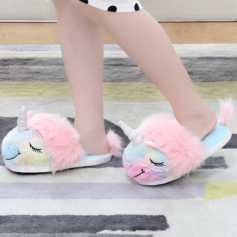 2019 New Warm Soft Cotton Unicorn Indoor Floor Household Baby Girls Slippers Rainbow Colorful Girl Shoes Parent-child Slippers