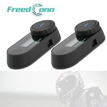 2PCS חדש Bluetooth קסדת אופנוע אינטרקום 3 רוכבים האינטרפון קסדת אוזניות רמקול עם LCD מסך FM רדיו מטען