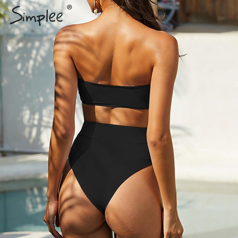 Simplee Sexy solid bikini set High cut bandeau sleeveless two pieces women swimwear Hollow out summer beach Bathers bathing suit