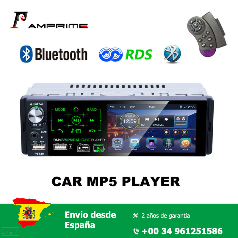AMPrime 1 din MP5 player 4.1'' touch screen HD capacitive screen Car single set MP5 RDS Radio P5130 image