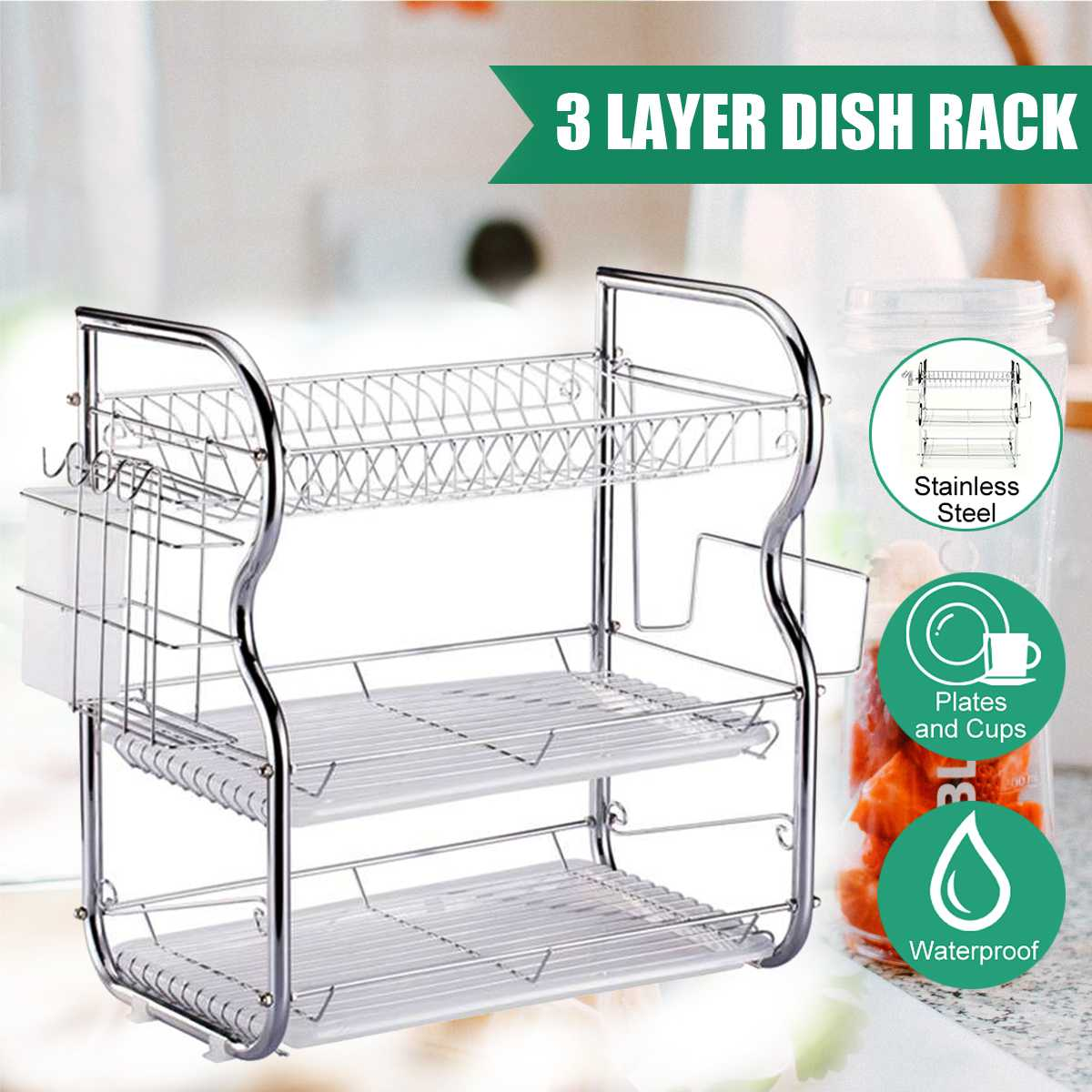 2/3 Tiers Multifunction 2 Tier Dish Drying Rack Holder Basket Stainless Steel Home Washing Kitchen Sink Dish Drainer Drying Rack