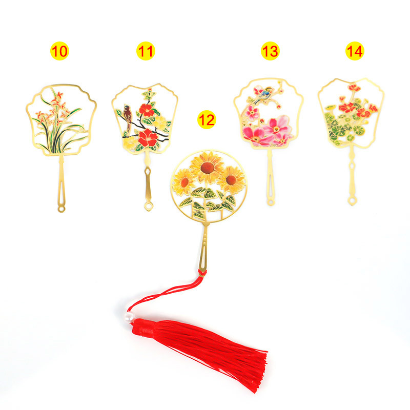 Round Silk Fan Metal Bookmark Customizable Chinese-style Creative Etching Brass Colour Printing Electroplated Literature And Art
