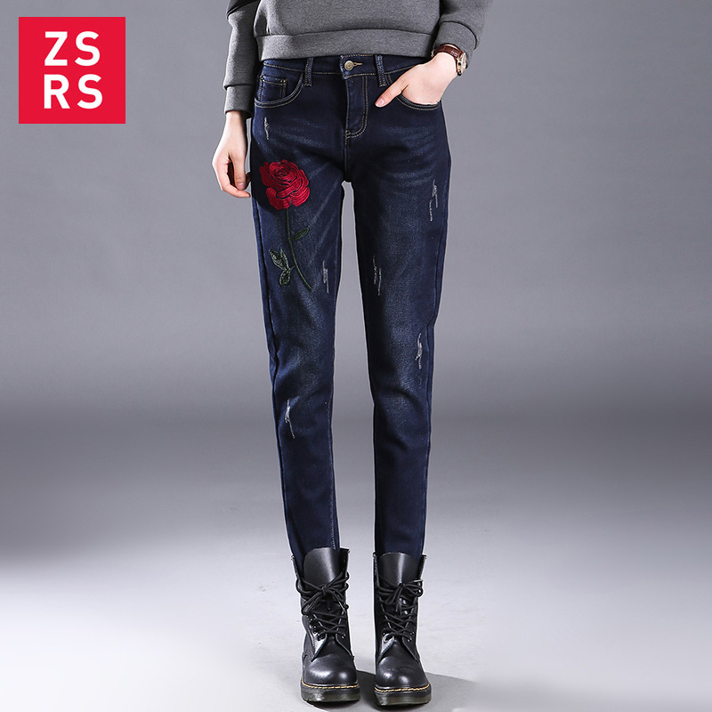 Zsrs 2019 Embroidery Jeans High Waist Denim Pants Fleece Scratch Jeggings Casual Plus Size Jeans For Women Warm Jeans Mom Jeans