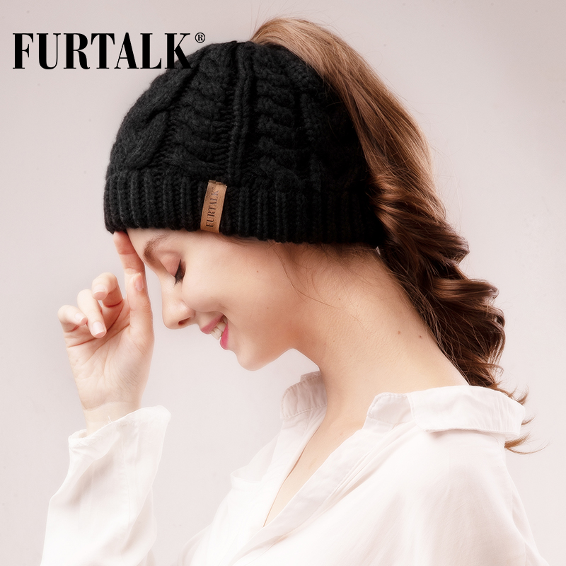FURTALK Winter Ponytail Beanie Hat For Women Knitted Messy Bun Ponytail Hat Ladies Outdoor Runner Sports Hat For Female