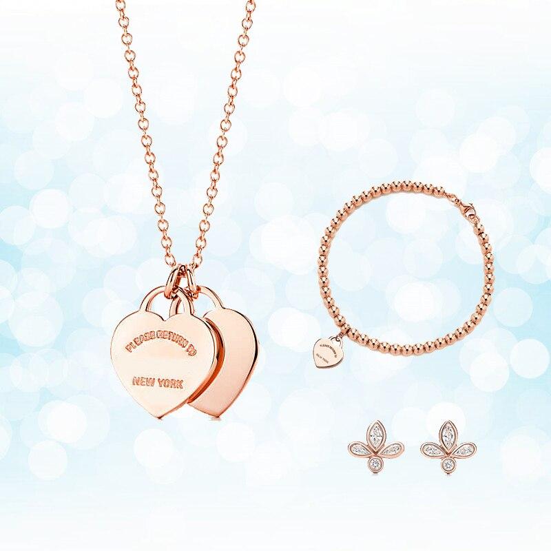 Argent Sterling 925 classique populaire Simple Original mode Rose or coeur charme dames collier ensemble ornement