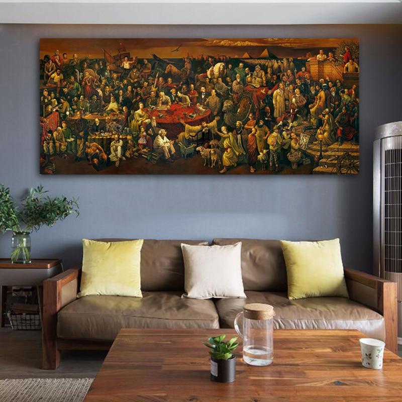 Знаменитое художественное произведение, обсуждение Божественной комедии, картина маслом на холсте, плакаты и принты, куадросы, настенные художественные картинки для гостиной|Рисование и каллиграфия|   | АлиЭкспресс