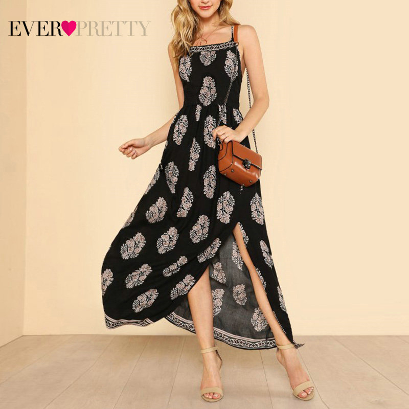 Floral Print Prom Dresses Long Ever Pretty AS07076NB Sleeveles Spaghetti Strap A-Line Elegant Cheap Women Summer Beach Dresses