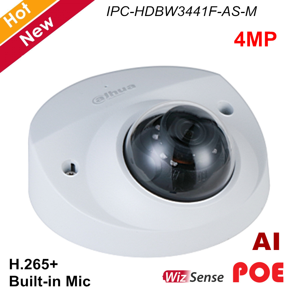 Dahua IP Camera POE IPC-HDBW3441F-AS-M 4MP IR Fixed focal Dome Security Camera H.265+ Rotation mode Support SD Card Waterproof