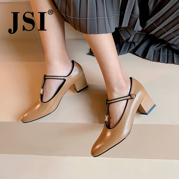 JSI Fashion Women Pumps New Elegant T-Tied Strap Metal Decoration Shallow Pointed Toe Square Heel Med Shoes Casual Pumps JO413