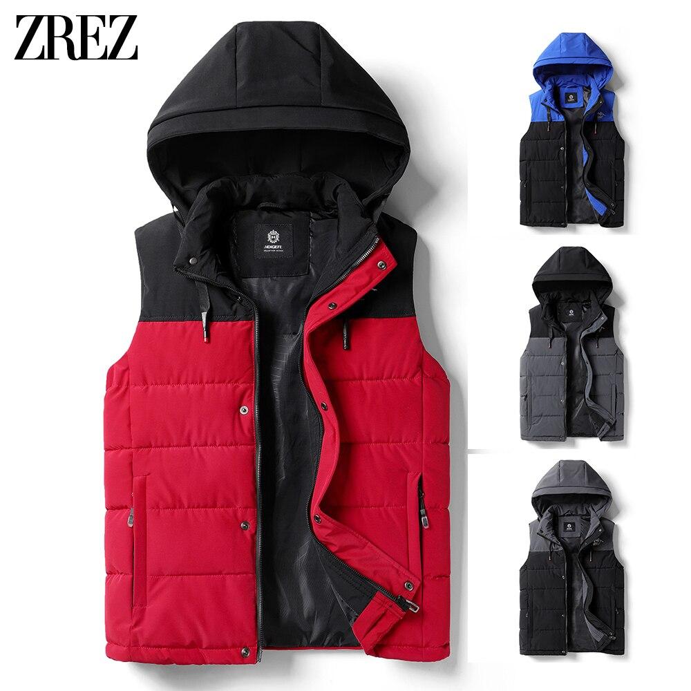 Men 2021 Autumn New Thick Hooded Sleeveless Vest Jacket WaistCoat Men Winter Outwear Fashion Casual Warm Cotton Vests Waistcoat