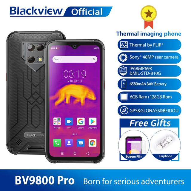 $  Blackview BV9800 Pro Global First Thermal imaging Smartphone Helio P70 Android 9.0 6GB+128GB Waterproof 6580mAh Mobile Phone