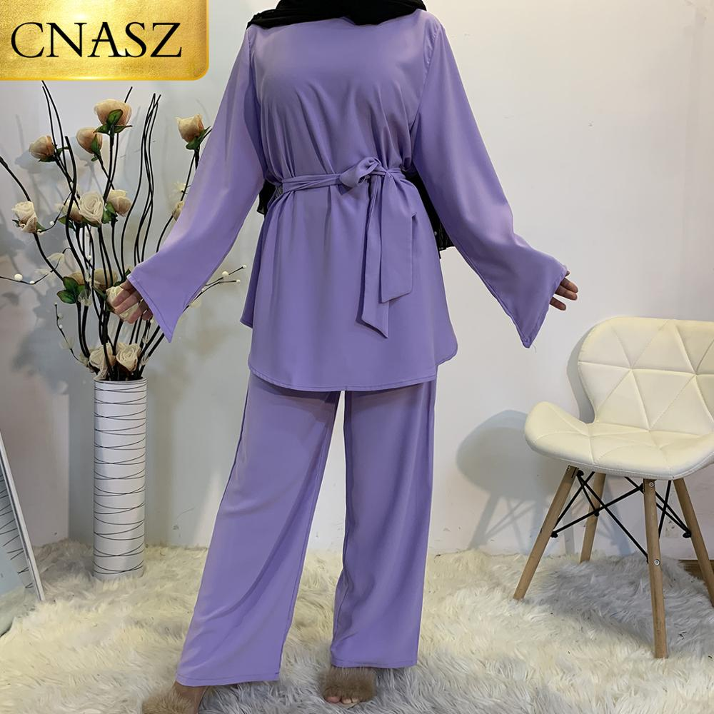 New Arrivals Muslim Woman Tops and Pants a Set Hight Quality Two Peice Set for Women Islamic Turkey Clothes Dubai Fashion