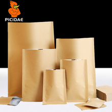Flat Kraft paper Top open Heat seal Trilateral Storage try out Packing bottom bag foil Granule liquid cosmetic Snack food mask