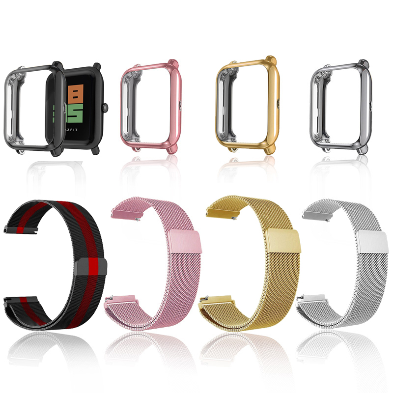 2in1 Watch Accessories For Amazfit Bip Strap Pink Case Screen Protector Film Bracelet For Amazfit Bip Lite Wrist Strap Band