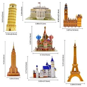 Image 3 - Karton bina modeli 3D oyuncaklar bulmacalar çocuklar için DIY dünyaca ünlü kule köprüsü beyaz ev yap boz eğitici oyuncaklar hediyeler