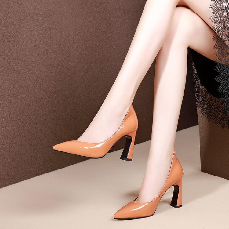 Женская обувь на высоком каблуке; сезон весна осень; женская обувь на толстом каблуке; кожаная обувь; белая женская обувь; Цвет белый; pu8.5см