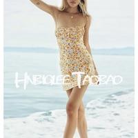 Ziwwshaoyu Sexy Charming Flower Print Beach Vacation Spaghetti Strap Silk Mini Dresses Women's High Quality Clothing
