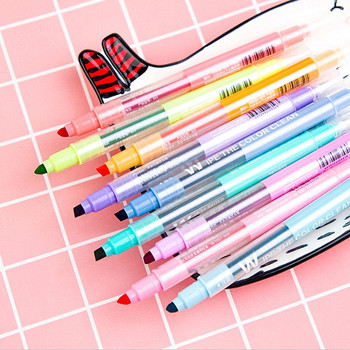 100pcs Kawaii Highlighter Pens Creative Dual-side Writing Erasable Highlighter for School Stationery  Fluorescent Markers Gift