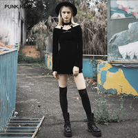 PUNK RAVE Girl's Punk Black Sexy Mini Dress Halter Velvet Gothic Party Club Dress Vintage Dress Women Dresses