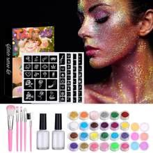 Kits de tatuagem do brilho 30 cores 125 modelos de diamante flash para tatuagem temporária conjunto crianças rosto corpo pintura arte ferramentas conjunto