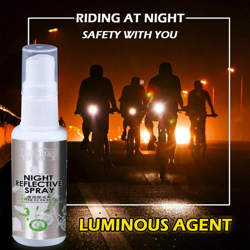 Outdoor Night Reflective Spray Safety Ride Night Light Spray Bicycle Fluorescent Paint Safety Warning Spray Outdoor Tools