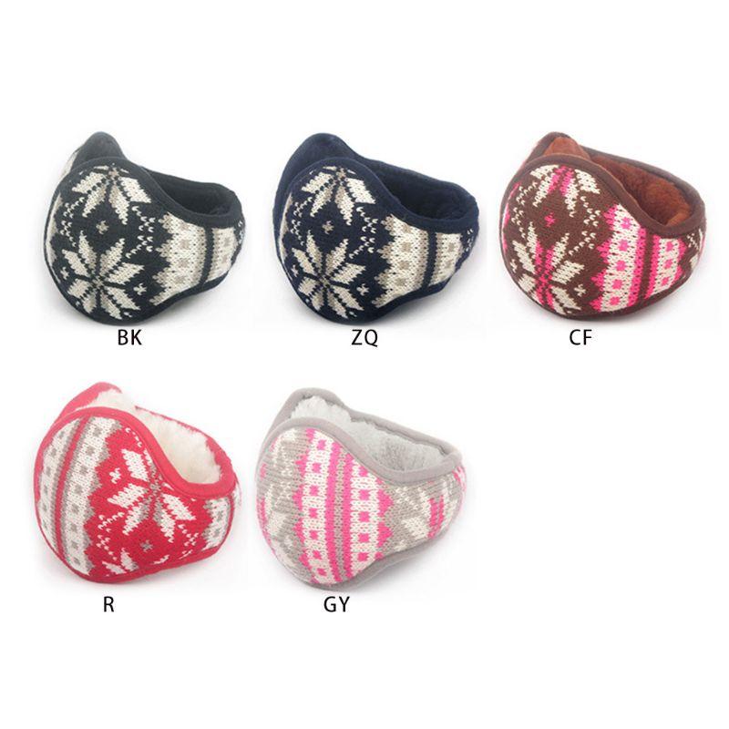 Women Men Snowflake Knitted Earmuffs Unisex Casual Foldable Soft Winter Thicken Plush Ear Warmers 5 Styles