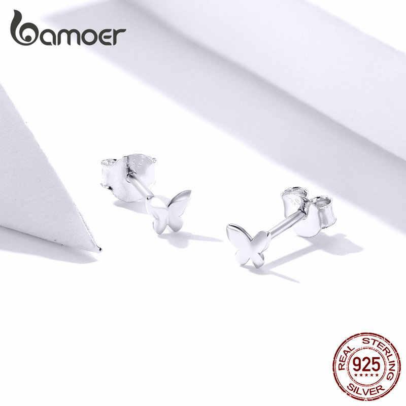 Bamoer genuíno 925 prata esterlina pequena simples borboleta brincos para mulher prata 925 anti-alergia jóias finas sce775