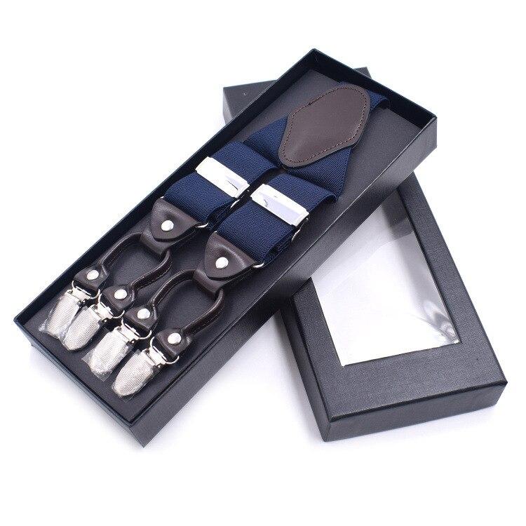 3.5*125cm Vintage Elastic Adjustable Men Trouser Braces Suspenders Y Shape With Strong Metal 6 Clips Suspender Gentleman Braces