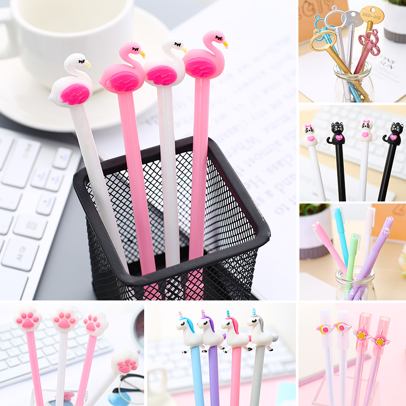 Korean Crystal flute Shape Gel Ink Pens school office supplies for girls Stationery novelty pens for kids stationary 12