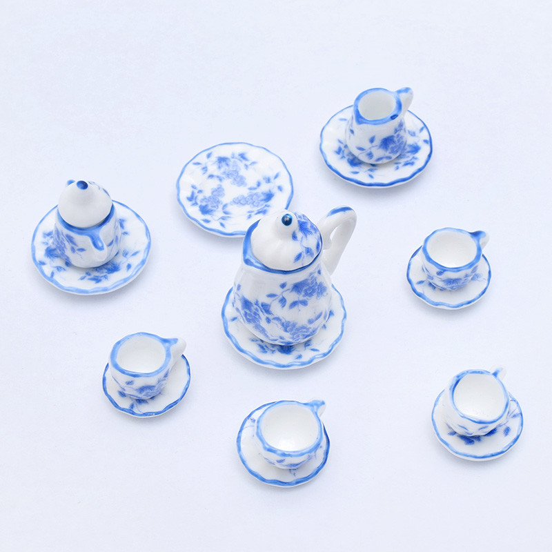 15pcs 1:12 Miniature  Porcelain Tea Cup Set Chintz Flower Kitchen Tableware Dollhouse Furniture Toys For Kids Gift 19 Patterns